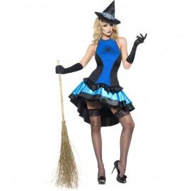 Kostým Čarodějka sexy modrá spider