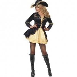 Kostým sexy pirátka - zlatočerná